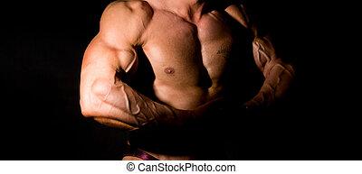 close-up, construir, músculo, bodybuilder