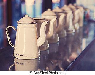cream vintage rustic teapot set