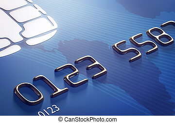 Close-up credit card (3d render) - Close-up credit card with...