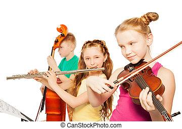 close-up, crianças, Instrumentos,  musical, tocando, vista