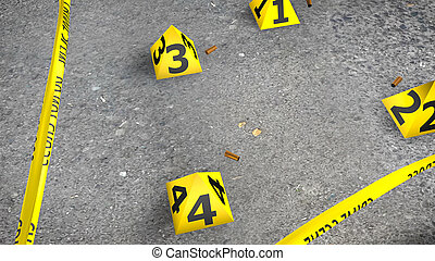 Close-up Crime Scene With Shells
