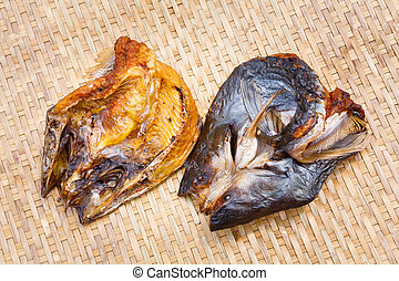 Crispy smoke dried mystus nemurus catfish - Close up Crispy...