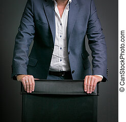 Close-up cropped Caucasian hands and arms of businessman