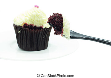 Close up cup cake texture layer with black fork