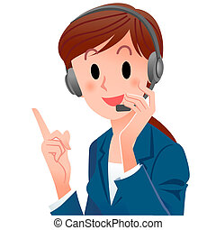 close-up cute support phone operator pointing up with a...