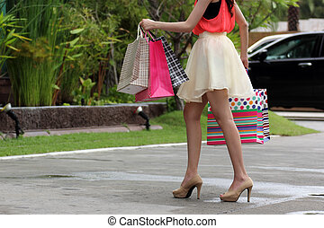 Cute woman shopping