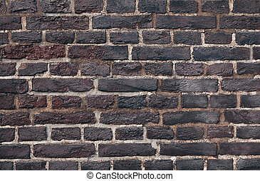 Close up dark brick old textured wall background