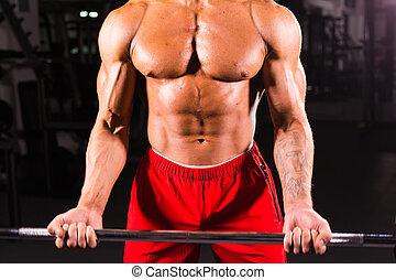 close-up, de, atleta, muscular, bodybuilder, ginásio, treinamento, com, barzinhos