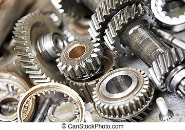 close-up, de, automóvel, motor, engrenagens