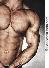 close-up, de, bodybuilder