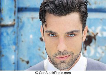 close-up, de, homem jovem