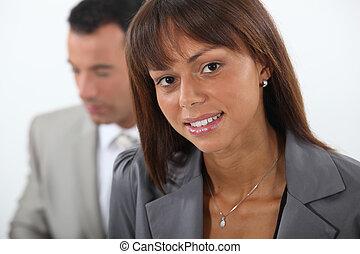 close-up, de, jovem, par empresarial