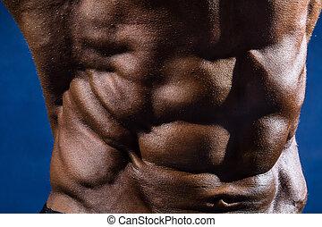 close-up, de, músculos abdominais, bodybuilder, ligado, um, experiência azul