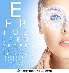 close-up, de, mulher, com, laser, optometry, sobre, azul,...