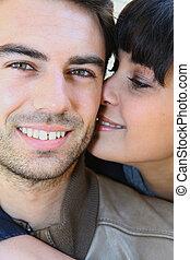 close-up, de, par jovem