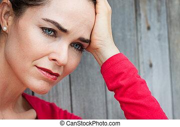 close-up, de, triste, e, deprimido, mulher
