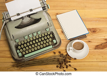 close-up, de, um, antigas, máquina escrever, com, papel, vindima, estilo