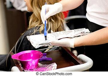 close-up, de, um, femininas, cliente, secar, dela, cabelo