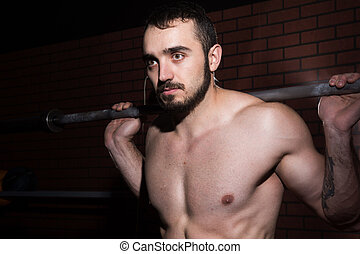 close-up, de, um, jovem, muscular, homem, com, um, barbell