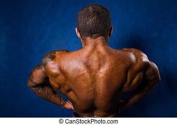 close-up, de, um, muscular, esportes, homem, costas, posição