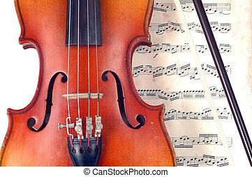 close-up, de, violino, e, vindima, folha música