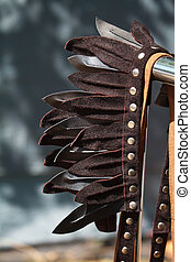 Closeup decoration for the head of leather feathers in the style of Indian tribes