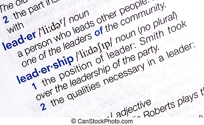 Definition of the word leader, close up