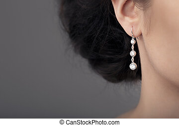 Close up Detail of a Earring - Image of a beautiful precious...