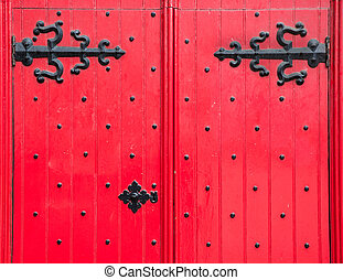 Detail of a Red Front Door