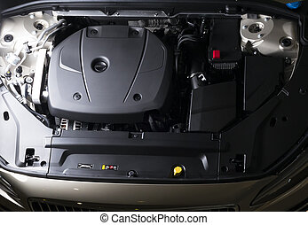 Close up detail of car engine