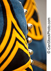 Close up detail of military uniform.