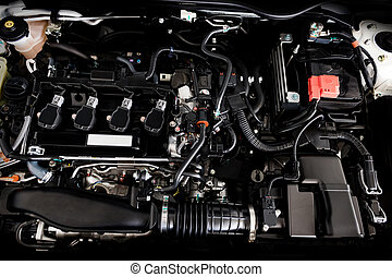 Close up detail of new car engine The powerful engine of a car. Internal design of engine