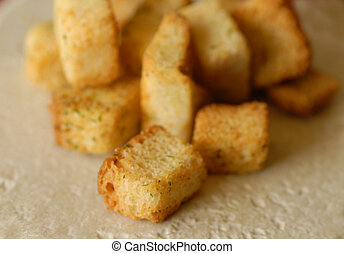 close up details of croutons with shallow depth of field