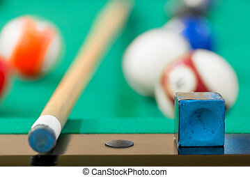 close-up details of the game of billiards