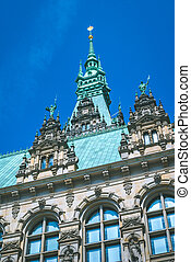 Close-up details of the vertical City Hall towers. Hamburg, Germany