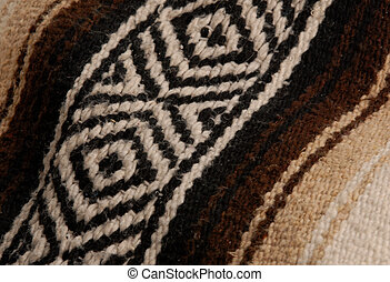 close up details on a brown and beige mexican blanket