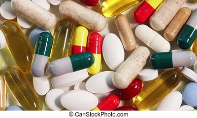 close up different pills - medicine, healthcare and pharmacy...