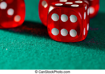close-up, dobbelsteen, casino, anders, doek, groene, digitale , combinaties, enigszins, rood