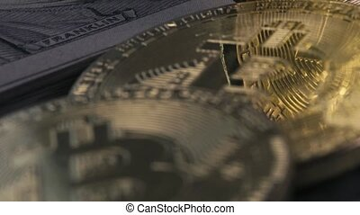 Concept Of Finance And Crypto Currency - Close-up - Dollar...