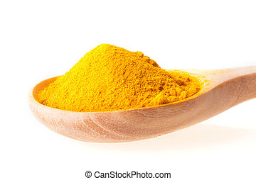 Close up dry turmeric powder in wooden spoon on white background