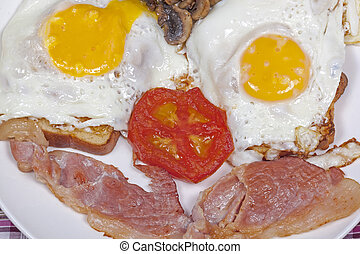 Close up Eggs on Toast with bacon tomato and mushrooms