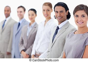 close-up, equipe, sorrindo, negócio
