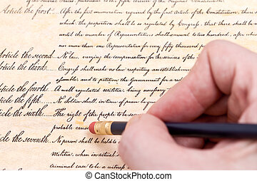 Close up Erasing the fourth amendment to U.S. Constitution...
