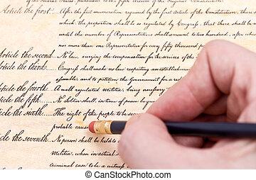 Close up Erasing the fourth amendment to U.S. Constitution...