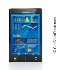 close-up, estatísticas, negócio, móvel, business., telefone, tecnologia