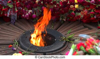 Close up eternal flame and many flowers. Memorial victory...