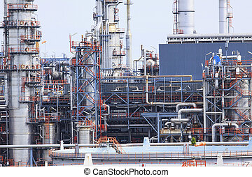 close up exterior stromg metal structure of oil refinery plant i
