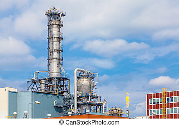 Close up exterior strong metal structure of oil refinery plant in heavy industry