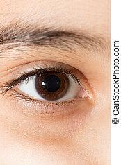 close-up, eye.