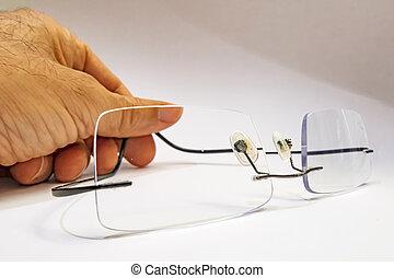 close up eyeglasses on white background